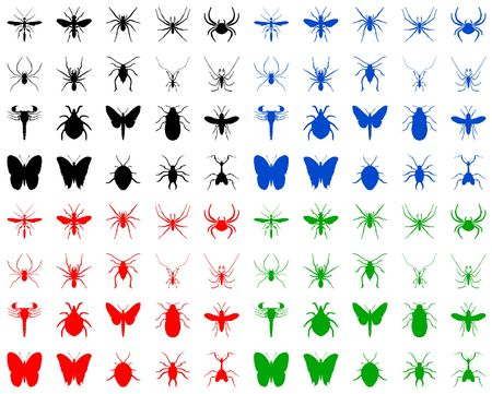 Color illustration of the bugs silhouettes on white illustration