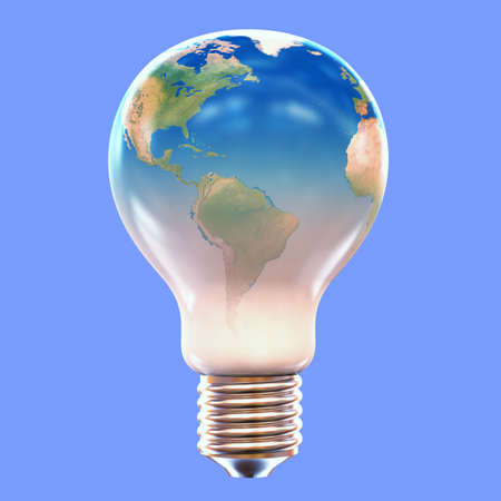 A lightbulb with the image of the Earth on it photo