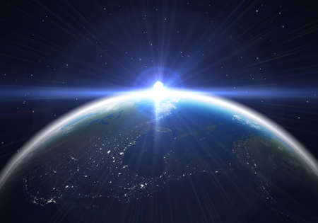 heaven and earth: Earth at night with a bright lens flare  3D illustration  Stock Photo