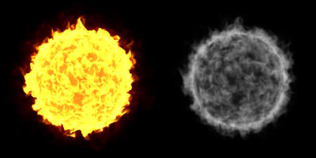 alpha: A Fireball isolated on a black background with alpha channel Stock Photo