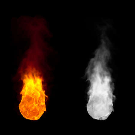 Ball of fire with flames burning upwards and alpha channel