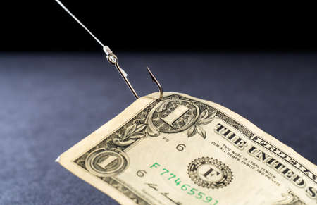 Money being reeled in on a fish hook hook - concept image for business - profits, loss, risk, investment, etc.