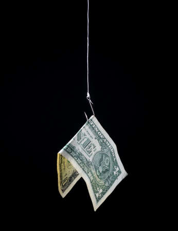 perdidas y ganancias: dinero colgando de un gancho de peces como cebo - concepto - riesgo, ganancia, pérdida, inversión, etc.