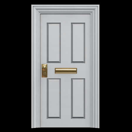 White Door to a house with a mail slot. 3D Illustration. Graphic Element. Banco de Imagens