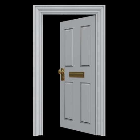 Open witte deur naar een huis, met een brievenbus. Geïsoleerd op zwart - 3D illustratie. grafisch element, concept afbeelding Stockfoto
