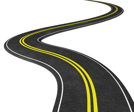 winding road 3D illustration. Isolated on white, graphic element - concept image 版權商用圖片