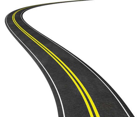 winding: Curved Road 3D illustration isolated on white - graphic element concept image