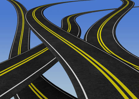 winding: winding roads criss crossing - 3D illustration. Graphic element, concept image - business plan, road map, decisions, etc. Stock Photo