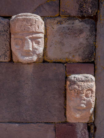 Head sculptures at the ancient ruins of Tiwanaku bolviia on the altiplano - high plain