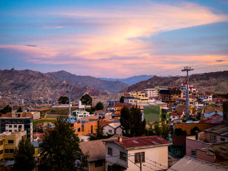 La Paz the capital of Bolivia on the altiplano in the South American Andes Mountains