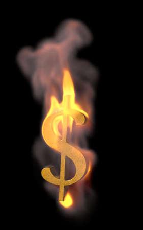 달러 기호 화재 - 화 염과 그것에 상승 돈을 개념 이미지 -3D 그림