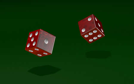 Dice rolled over a green felt texture in a game of chance - 3D illustration Stock fotó