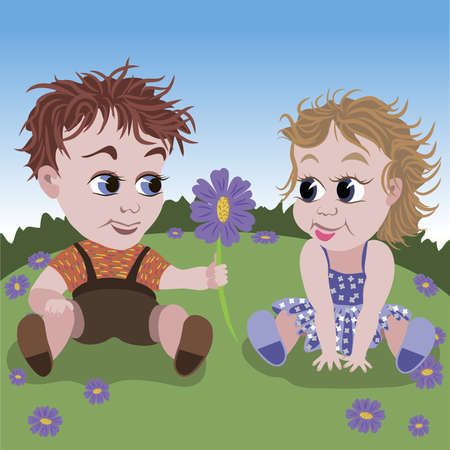 Illustration of little boy giving violet flower to small girl on the meadow  Vector