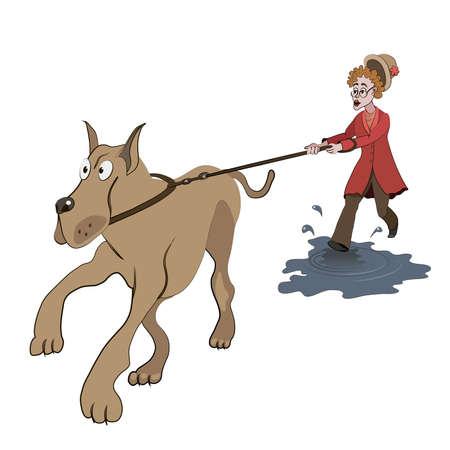 Ilustración de la anciana tratando de caminar con el perro grande en el charco