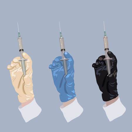 Illustration of hand in glove holding the syringe with medication