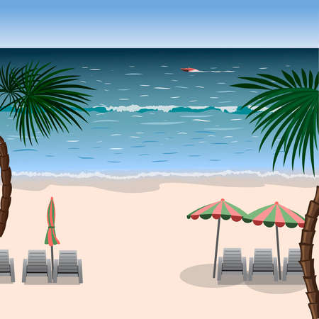 loungers: Landscape of a beach with white sand, sea, umbrellas, loungers and palm trees