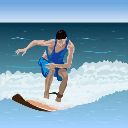 beginner: Beginner surfer is on the wave  Illustration