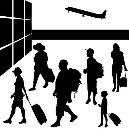 Silhouettes of people with baggage going to travel by airplane  Vector