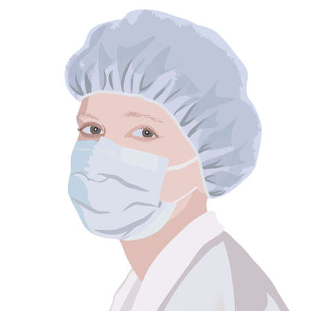 woman hygiene protection: Realistic portrait of a nurse in the mask and cap