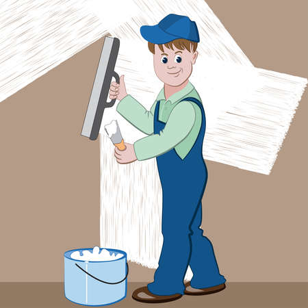 coverall: Illustration of worker or mason with spatula and plaster or cement doing renovation