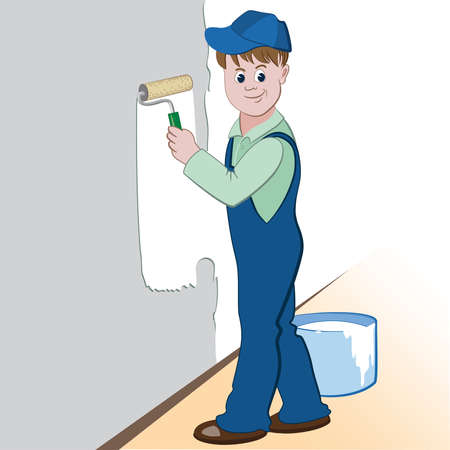 Illustration of worker with roller and paint painting the wall. (painting services design) Vector