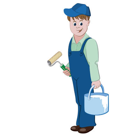 coverall: The painter or decorator standing with a roller and a bucket of a paint