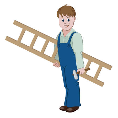 Illustration of repairman or worker standing with a ladder and a hammer   Vector