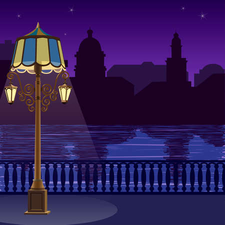 quay: Illustration of city skyline at nigh: quay, fence and lamppost