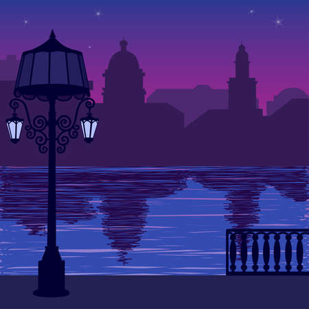 quay: Illustration of city skyline at nigh: quay and silhouette of lamppost