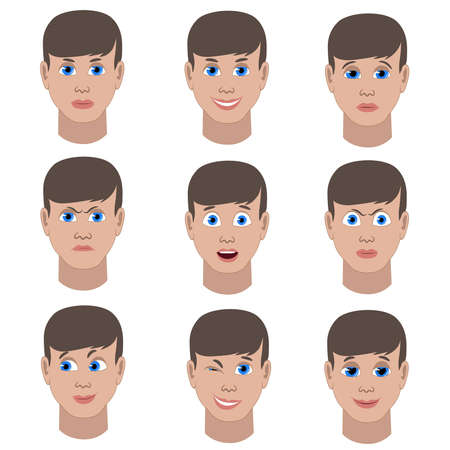 outraged: Set of variation of emotions of the same guy. He is smiling, sad, angry, surprised, outraged, confused, winking, in love
