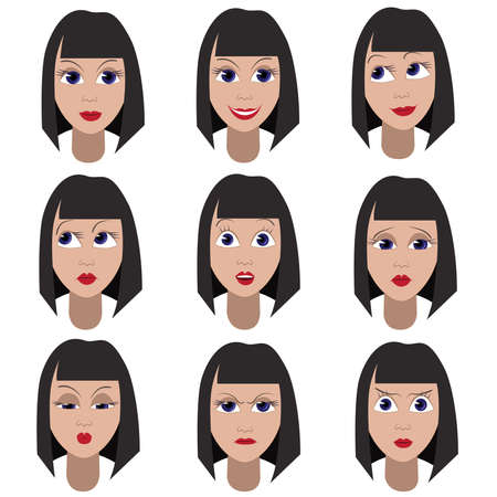 Set of variation of emotions of the same girl. She is remembering, thinking, sad, dreaming, angry, surprised, sending a kiss, outraged, smiling
