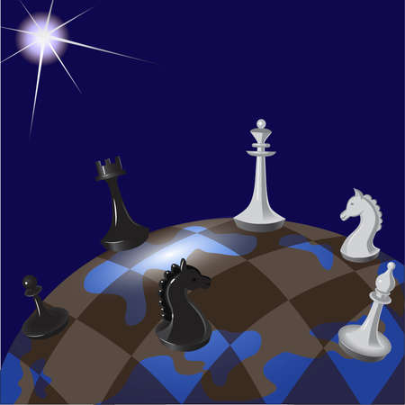 geopolitics: Illustration of world chessboard: global politics as a game of chess