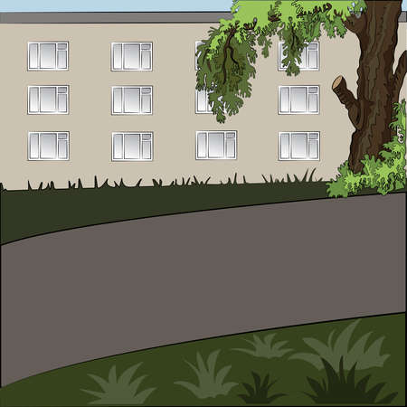 grass lawn: Illustration of city landscape in the daytime: tree, house, sidewalk and grass lawn.