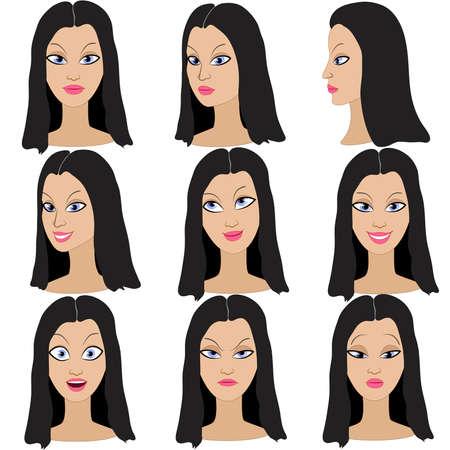 pelo ondulado: Conjunto de variaci�n de las emociones de la misma chica con el pelo negro. Ella es recordar, pensar, triste, so�ando, enojado, sorprendido, indignado, sonriendo. Ella tiene el pelo largo, ondulado y ojos azules. Vectores