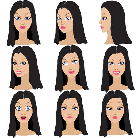 black hair blue eyes: Set of variation of emotions of the same girl with black hair. She is remembering, thinking, sad, dreaming, angry, surprised, outraged, smiling. She have long, wavy hair and blue eyes.