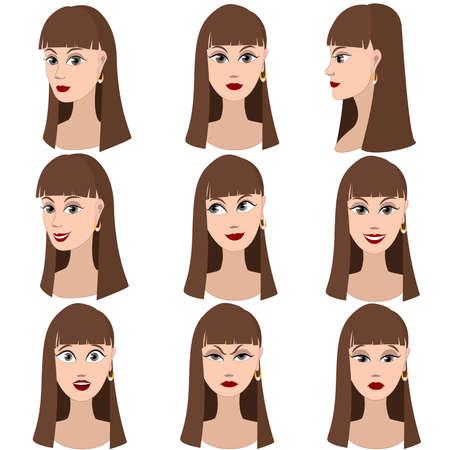茶髪: 茶色の髪と同じ女の子の感情の変化のセットです。彼女は覚えている、思考、悲しい、夢を見て、怒り、驚き、激怒、笑みを浮かべてします。彼女は長いストレートの髪と灰色の目があります。