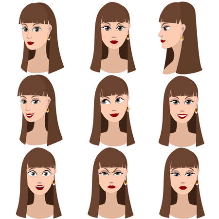 Set of variation of emotions of the same girl with brown hair. She is remembering, thinking, sad, dreaming, angry, surprised, outraged, smiling. She have long straight hair and gray eyes. Ilustração