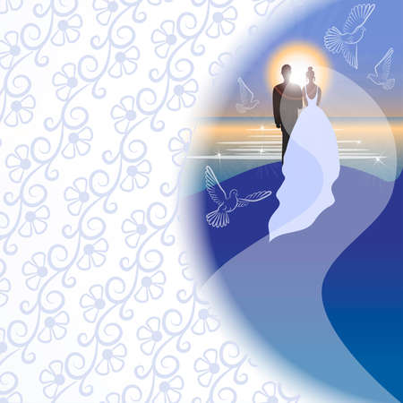 White background with bridegroom, bride, pigeons, sea, sun and sunrise in semicircular window Vector