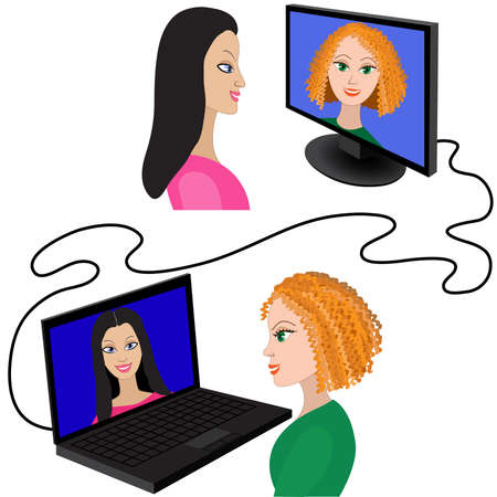 Illustration of two women having a video chat through the internet.