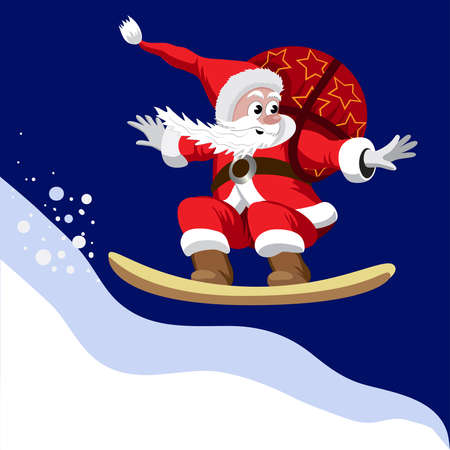 Santa Claus carrying a bag of gifts on a snowboard.