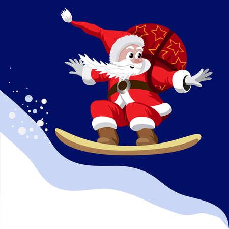 weihnachtsmann lustig: Weihnachtsmann mit einem Sack von Geschenken auf einem Snowboard.
