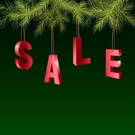 Christmas sale red tags over green background with fir branches. Vector illustration.