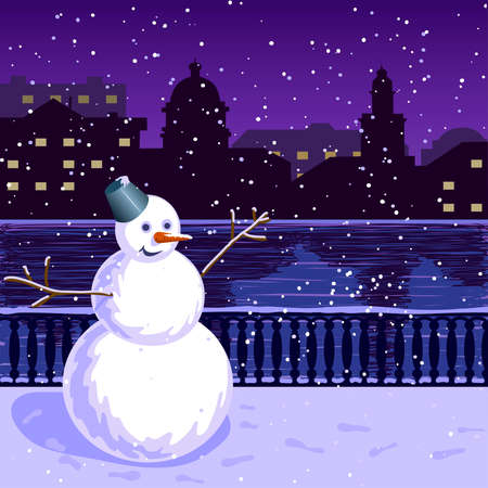 Christmas illustration of city at night: quay, winter, snowman.