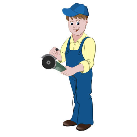 angle grinder: The repairman or handyman standing with a angle grinder or saw. Illustration