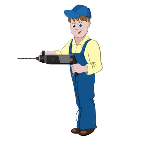 perforator: The repairman or handyman standing with a perforator or drill. Illustration