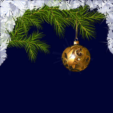 Illustration of Christmas ball with fir branches, surrounded by frosty ornament Vector