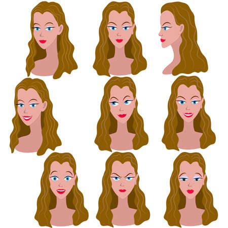 Set of variation of emotions of the same girl with brown hair. She is remembering, thinking, sad, dreaming, angry, surprised, outraged, smiling. She have long wavy hair and blue eyes.
