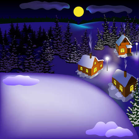 View of landscape of snowy town at the night from hill. Night, moon, sky, skyline, forest, houses