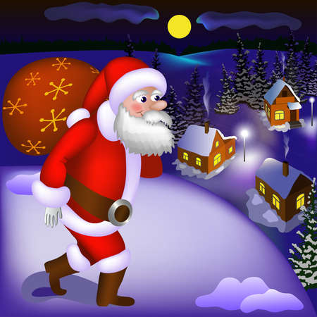 Illustration of Santa Claus coming with gifts to the snowy town at night