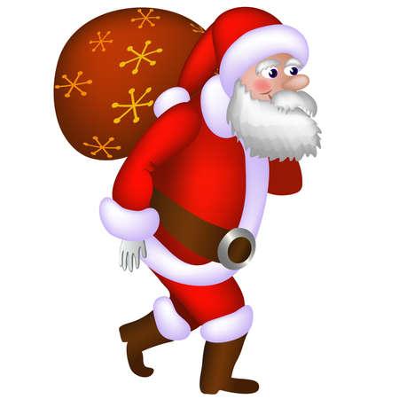 Illustration of Santa Claus carrying a bag with gifts Ilustração